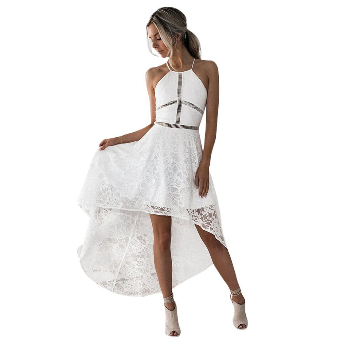 Mose Summer Dresses for Women, Ladies Harness Lace Irregular Dress Sleeveless Formal Prom Party Bridesmaid Wedding Ball Gown Cocktail Elegant Tops (XL, White)