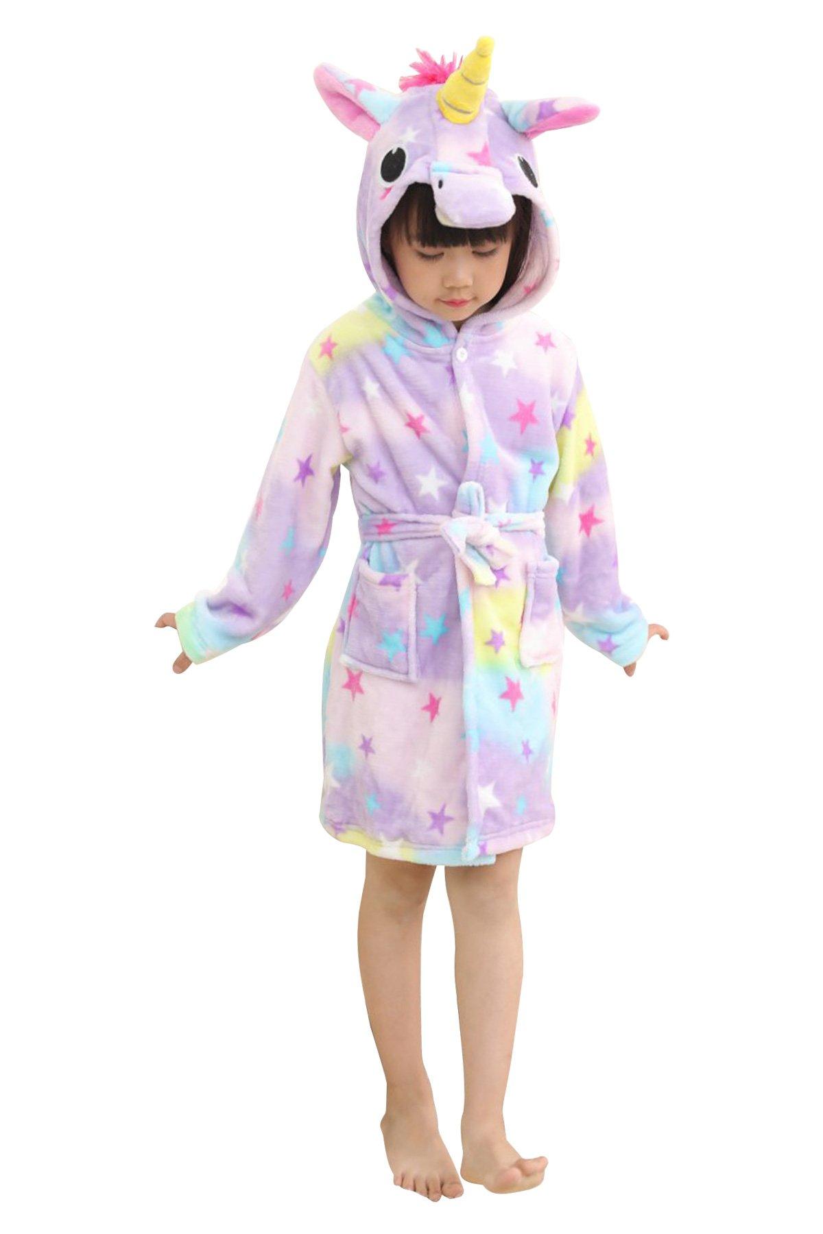 JOXJOZ Kids Unicorn Hooded Bathrobes Flannel Robe Pajamas Unisex Animal Sleepwear Gift (Stars, 100(Suggested Height35.4-39.4''))