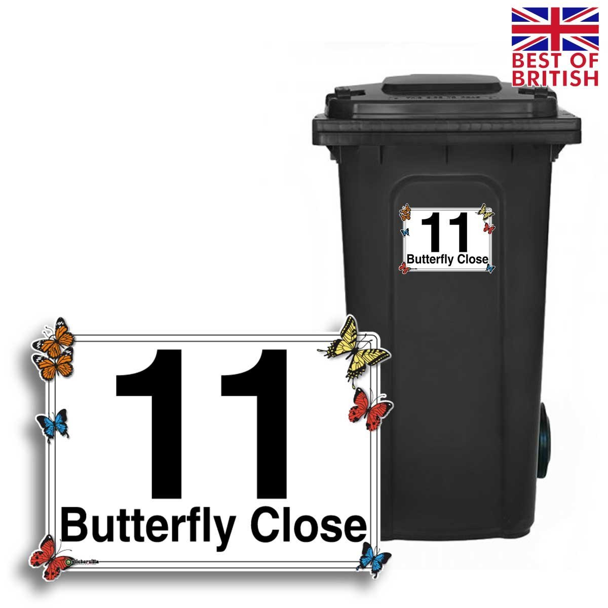 Butterfly - Personalised Wheelie Bin Sticker/Vinyl Labels with House Number & Street Name - Size A5 [4 Pack] Stickerzilla