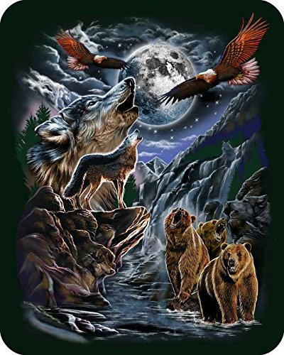 """7 Hidden Wolves"" Officially Licensed Medium Weight Mink Blanket 79"" X 96"" Oversize Queen"