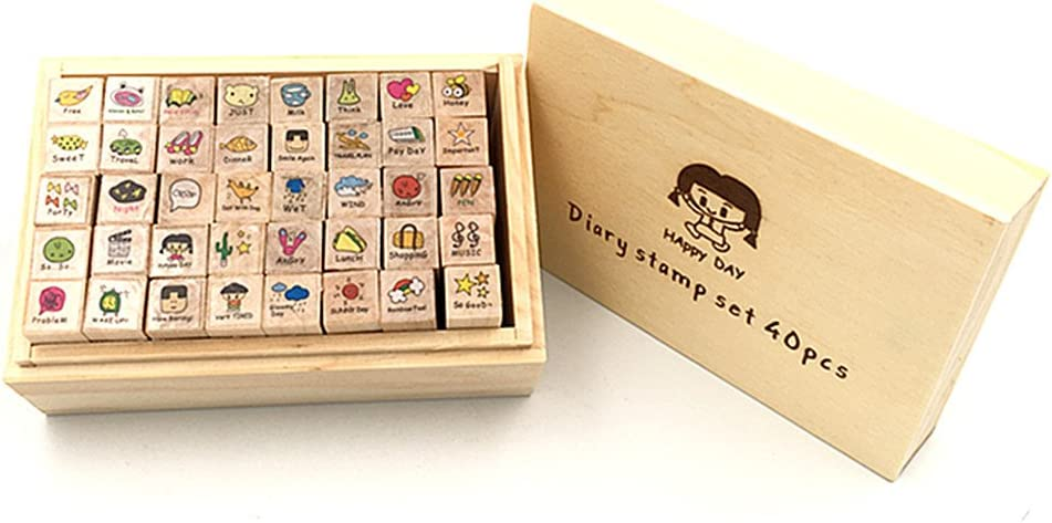 Diary Stamp Set,Wooden Rubber Signet for Children DIY Scrapbooking Planner Card Making(40pcs,Happy Day)