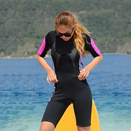 1bbbf726fa Amazon.com  Zerorun Couple s One-Piece Shorty Wetsuit 3mm Neoprene Short Sleeves  Diving Surfing Swimwear  Sports   Outdoors