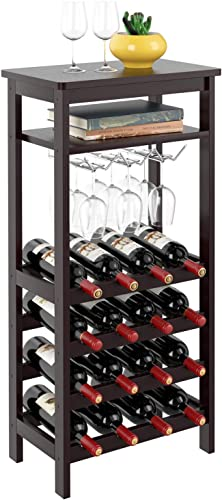 Homfa-Bamboo-Wine-Rack-Free-Standing-Wine-Holder-Display-Shelves-with-Glass-Holder-Rack