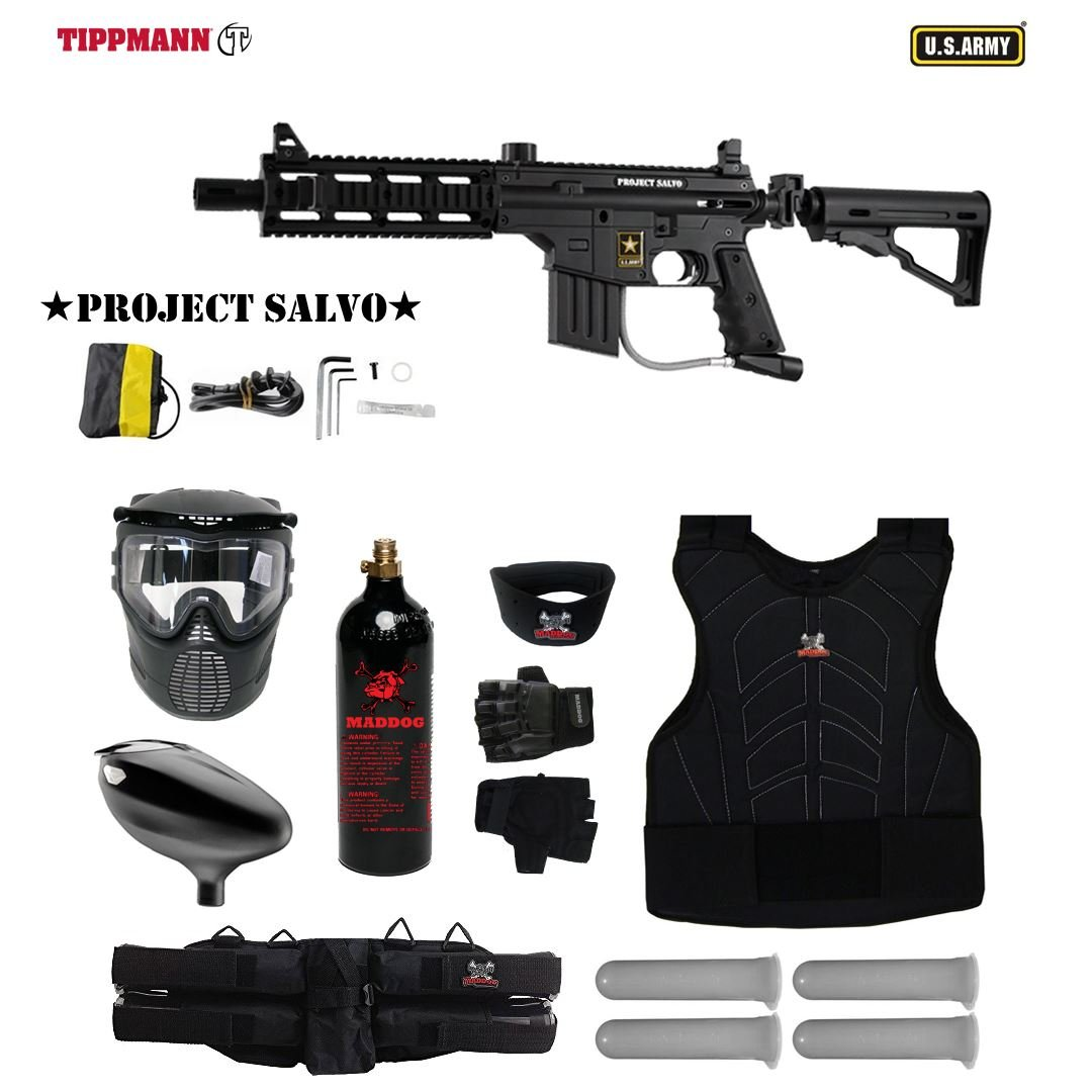 MAddog Tippmann U.S. Army Project Salvo Starter Protective CO2 Paintball Gun Package - Black by MAddog