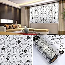 BTclassics Black Floral Flower Window Sticker Privacy Frosted Window Film for Bathroom Bedroom (17.7 in x 78.7in, 16)