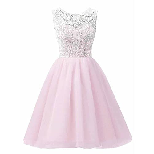 MICBRIDAL Flower Girl/Adult Ball Gown Lace Short Prom Dress Pink Age12