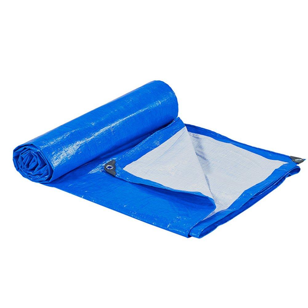 HAIPENG Plane Gewebeplane Holzplane Abdeckplane Schutzplane Verdicken Regenfest Schwerlast Draussen, Mehrere Größen, 170 G M² (Farbe   Blau+Weiß, größe   4x6m)