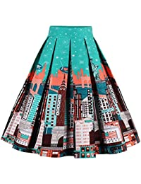 d31277a250f Women s Pleated Vintage Skirt Floral Print A-line Midi Skirts with Pockets  Statue of Liberty