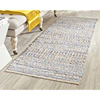 Safavieh Cape Cod Collection CAP353A Hand Woven Flatweave Natural and Blue Jute Runner (23 x 8)