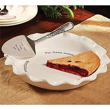 Mud Pie Circa Pie Plate and Server, White