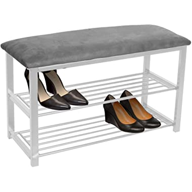 Sorbus Shoe Rack Bench – Shoes Racks Organizer – Perfect Bench Seat Storage for Hallway Entryway, Mudroom, Closet, Bedroom, etc (Gray/White)