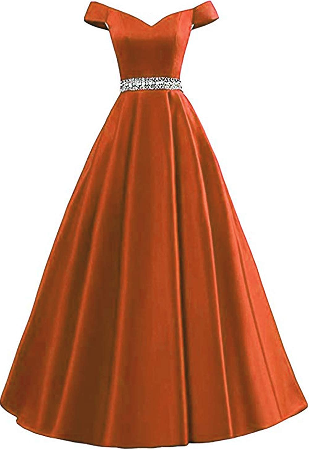 orange Rmaytiked Women's Off Shoulder Prom Dresses Long 2019 Satin Beaded A Line Formal Evening Ball Gowns with Pockets