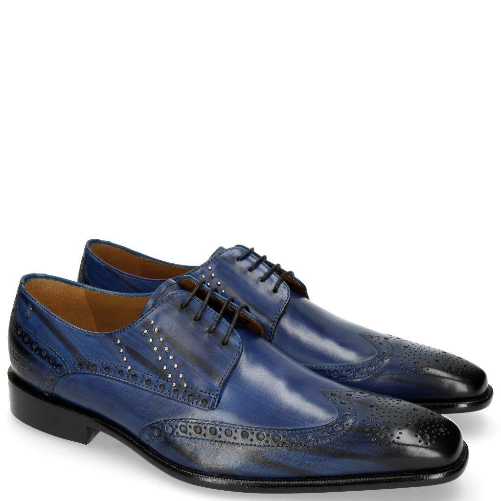 MELVIN & HAMILTON MH HAND MADE 2 Schuhe OF CLASS Albert 2 MADE Saphir Rivets Lines Navy-40 - 88b635