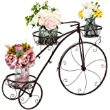 VINGLI Tricycle Plant Stand, Flower Pot Cart Holder Patio Stand Holder Outdoor Displaying Plants Flowers (Bronze)