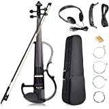 Vangoa Black Full Size 4/4 Vintage Solid Wood Metallic Electronic Silent Mahogany Violin with Ebony Fittings, Carrying Case,