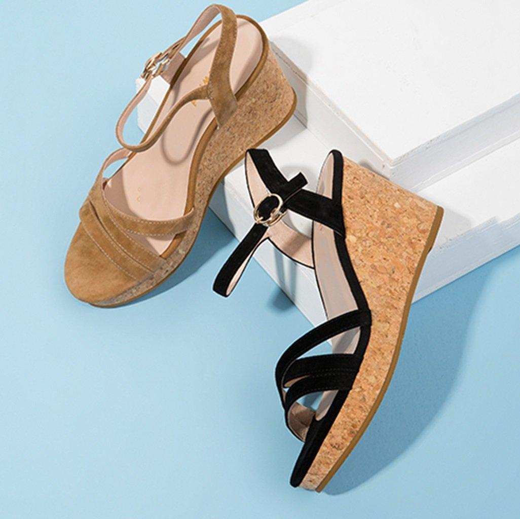 Ren Chang Jia Shi Pin Firm Schuhe Damen Damen Sandalen Sommer Damen Damen Keil Sandalen Casual Open-Toe Lederschuhe Sandalen (Farbe : Beige, Größe : 38) Beige 3d489d