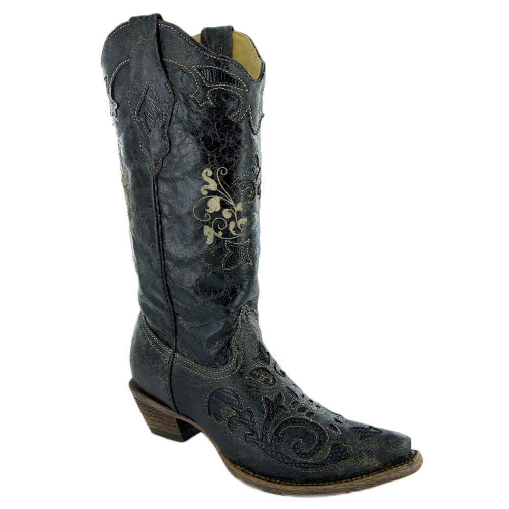 CORRAL Women's Vintage Lizard Inlay Western Boots B00DZ4VAUM 10 B(M) US|Black