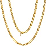 ChainsPro Men Chunky Miami Cuban Chain Necklace, Custom Available, 6/9/14mm Width, 18/20/22/24/26/28/30inch Length, Gold Plat