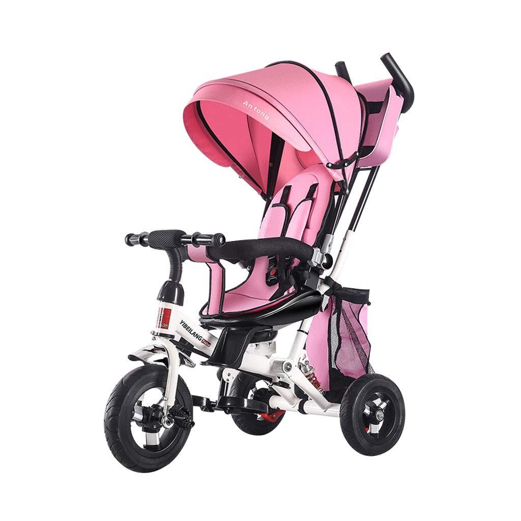 Bicicletta Multifunzione 4 in 1 Baby Bike Bicicletta a 3 Ruote Coloreata per 1-3-6 Anni Boy And Girl Safety Fence Passeggini per Bambini Toddler Trike Awning   4 Colorei opzionali