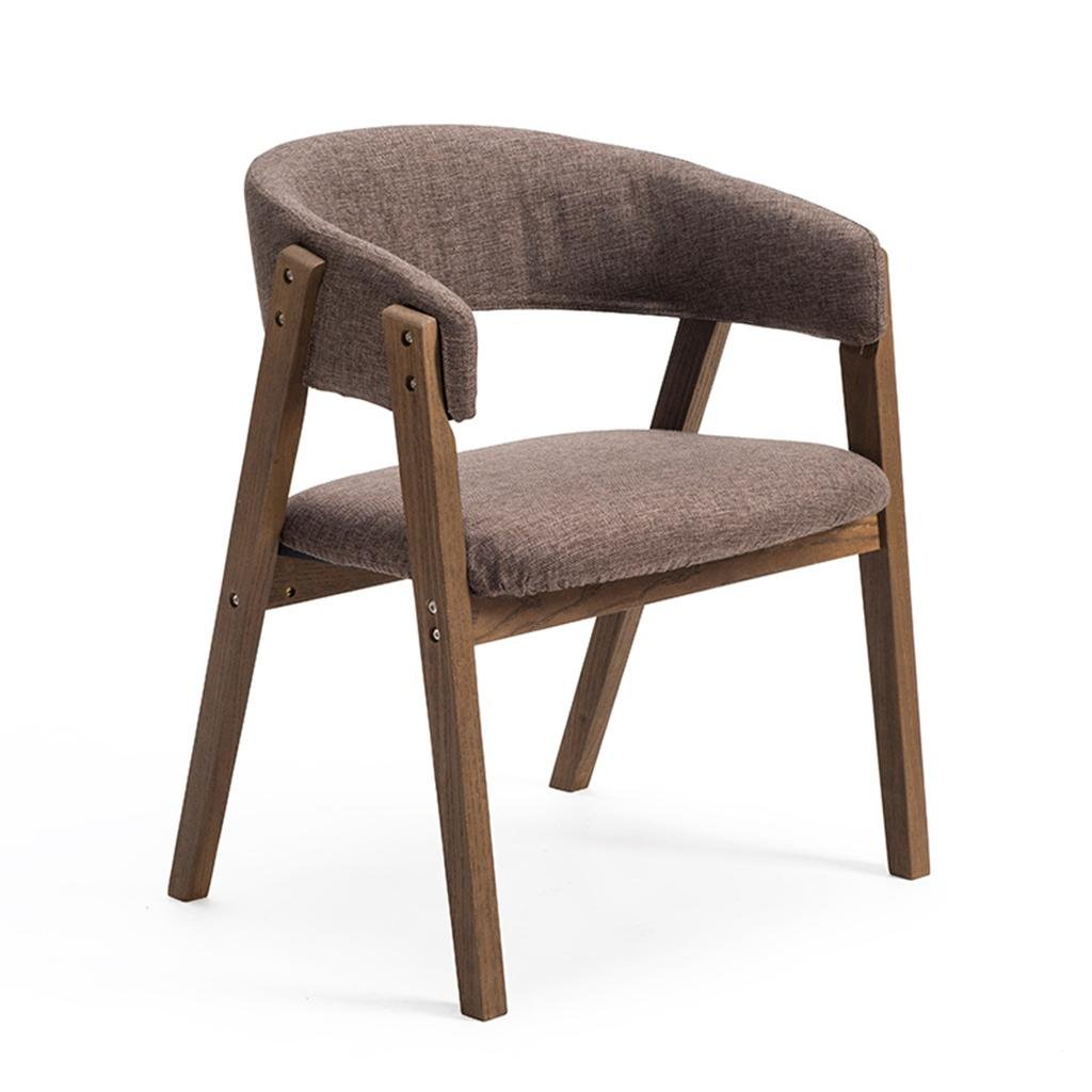 2 B Stool Simple Chair All Wood Stent U-Shaped Backrest Linen with PU Seat Leisure Armchair 60  55.5  75.5cm Suitable for Cafe Restaurant Living Room Breakfast Chair, 1, A,Simple