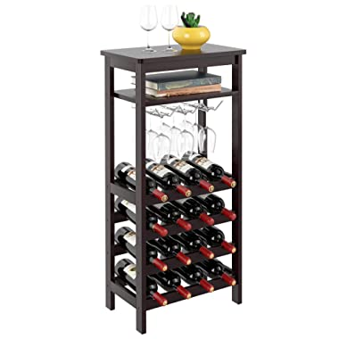 Homfa Bamboo Wine Rack Free Standing Wine Holder Display Shelves with Glass Holder Rack, 16 Bottles Stackable Capacity for Home Kitchen, Retro Color
