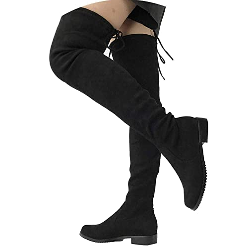 485469659bf7 Thigh High Flat Women Over The Knee Boots Comfort Fall Winter Faux Suede  Fashion Woman Boots