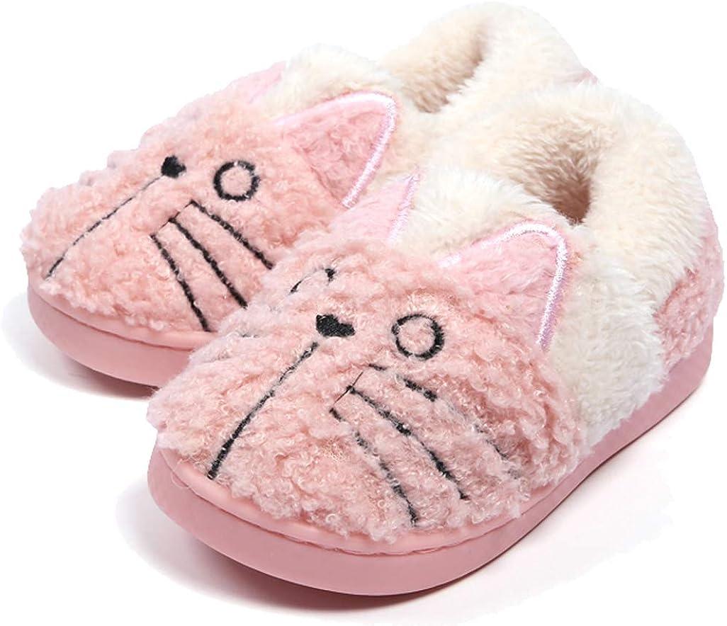 D.S.mor Kids Fox Plush Warm Slippers Bedroom Slippers Childrens Slippers