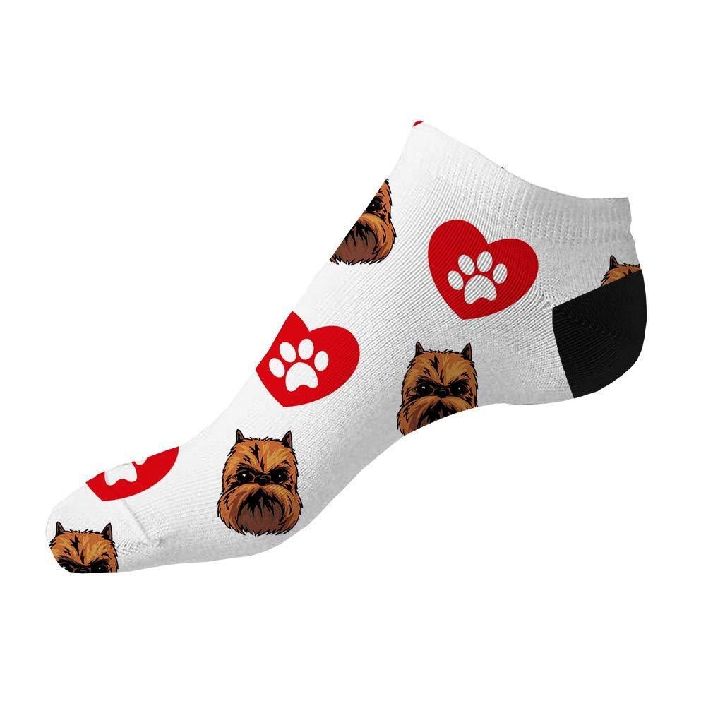 Griffon Bruxellois Dog Pattern #2 Men-Women Adult Ankle Socks Novelty Socks