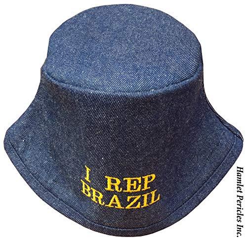 Blue Denim Unisex Bucket Hat | I Rep Brazil Embroidered Hat | Brazil | Brasil | Brazilian Hat | Blue Hat by Hamlet Pericles | HP3916a