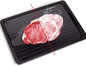 Meidong Rapid Defrosting Tray for Thawing Frozen Meat Thawing Plate for Fast defrosting of frozen foods Premium Quality Thawing Tray with Drip Tray/Silicone Sponge/Tongs