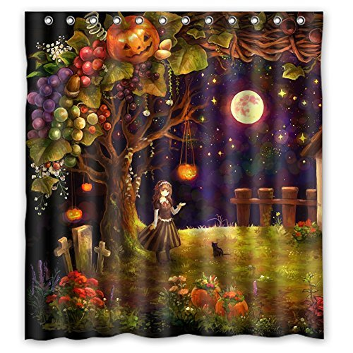 Custom Girl Pumpkin Dark Cat Moon Star Waterproof Polyester Shower Curtain 66x72]()
