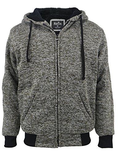 eatshirt Men Zip Up Sherpa Lined Warm Long Sleeve Hoodie Jackets (2X-Large, Marble Olive) ()