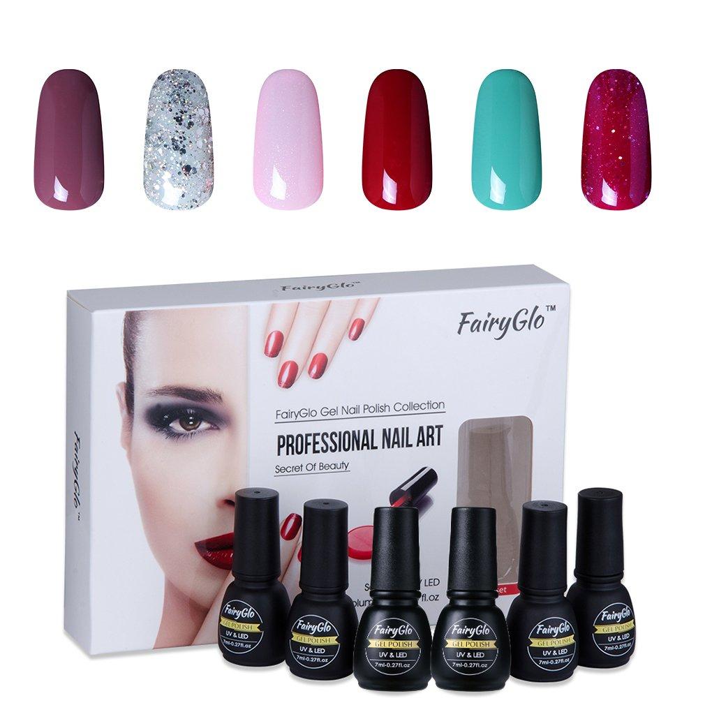 Nail Polish UV LED Nail Art Soak Off Starter Kit Varnish Gel Nails 6PCS FairyGlo 7ml 1016 YHUS