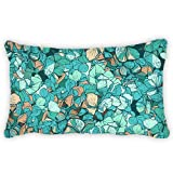 Polyester Pillow Cover Blue Flowers Bolster Throw Lumbar Pillow Case Cushion Cover For Couch Sofa Home Decorative 12x24 Inches