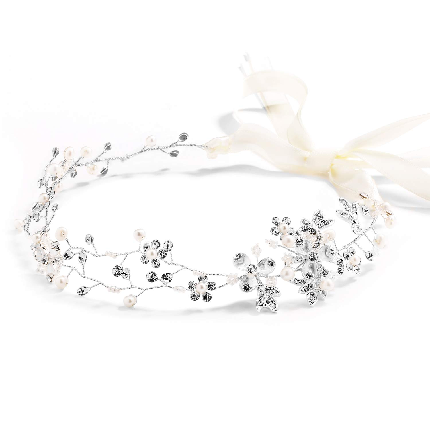Mariell Freshwater Pearl Crystal Wedding Headband Hair Vine with Ribbons by Mariell