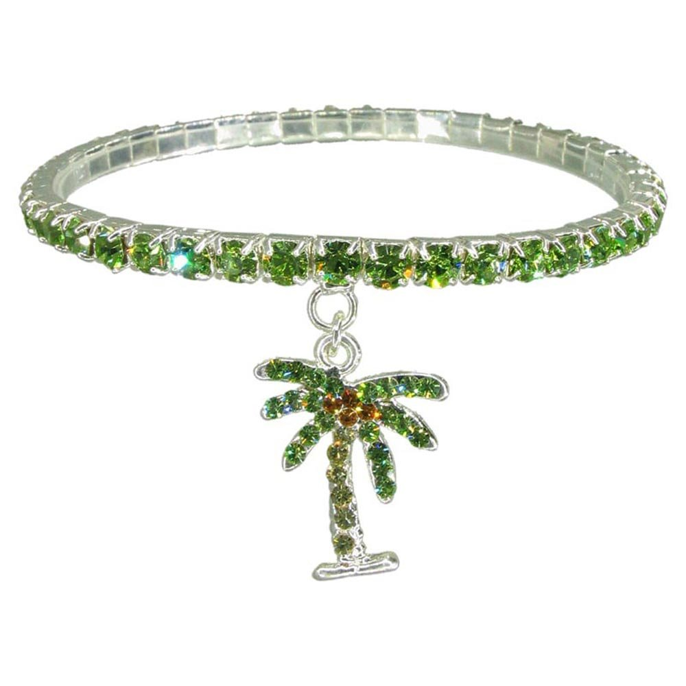Green Palm Tree Bracelet (Hand Painted Silver Plated Crystal Stretch Bracelet Summer Beach Jewelry RSB496-GR7)