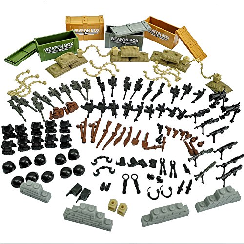 Taken All Custom Military Army Weapons and Accessories Set Compatible Major Brands ,Accessories - Hats, Weapons, Tools, Modern Assault Pack Military Building Blocks Toy (Original Version) (Best Modern Assault Rifle)