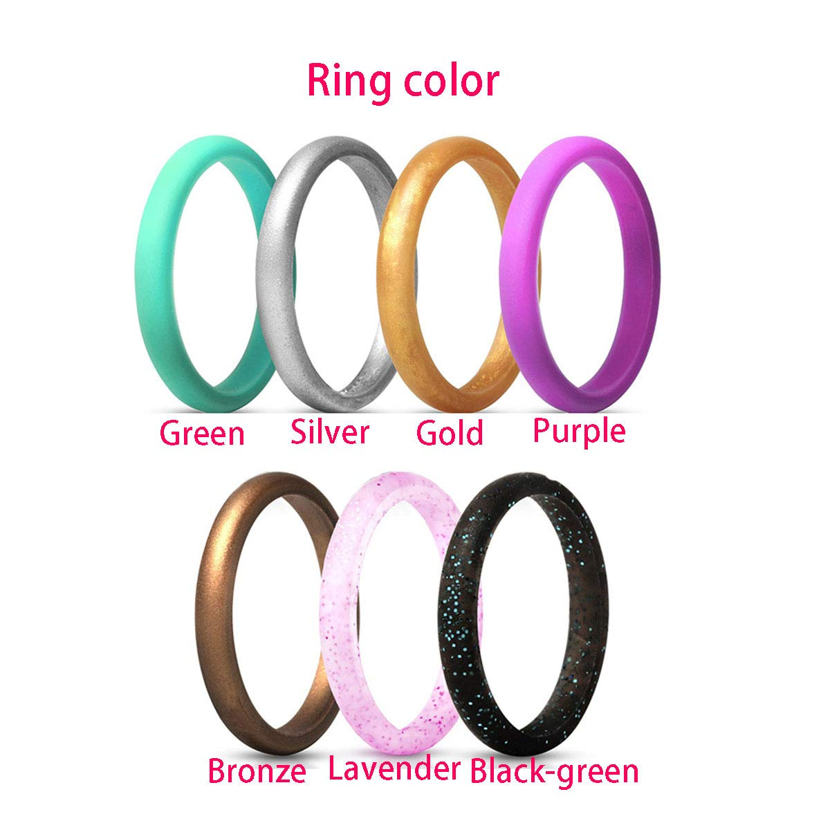 Kebaner 10 Pack 7 Pack 2.7MM Wide Silicone Wedding Ring Premium Medical Grade Stackable Band for Women