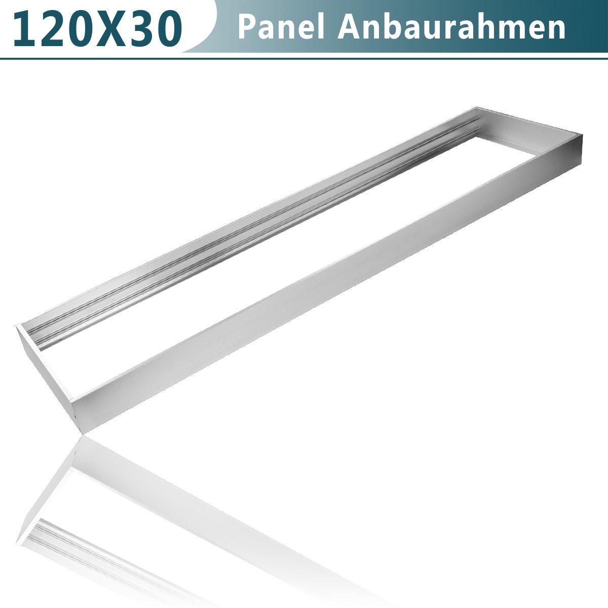 LED Panel Aufbaurahmen/Aufputz-Rahmen für Wand- und Deckenmontage, 120x30cm, Aluminium Silber Achollo