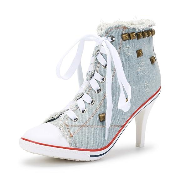 252bd6bd31d2 OCHENTA Femme Bottine Basket Talon Aiguille Hauteur 8.5cm Lacets Toile  Casual  Amazon.fr  Chaussures et Sacs