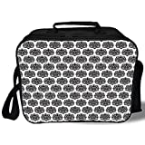 Insulated Lunch Bag,Damask,Monochrome Antique Surreal Heraldic Medieval Design with Swirls and Curves Motif Decorative,Black White,for Work/School/Picnic, Grey