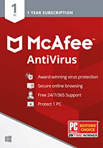 McAfee Antivirus Protection 2020, 1PC, Internet Security Software, 1 Year - Key Card
