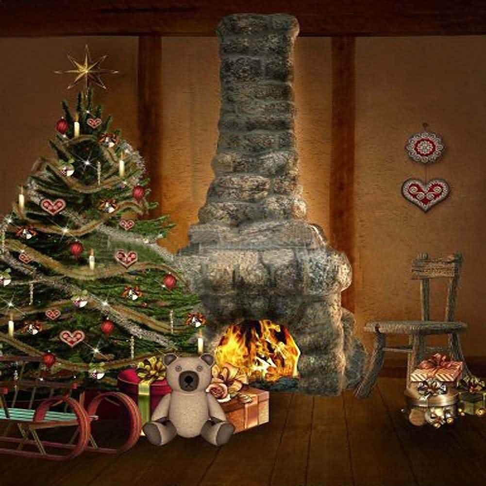 GladsBuy クリスマス暖炉 10 x 10フィート デジタルプリント 写真背景 クリスマステーマ背景 YHA-108   B016BWZSTS