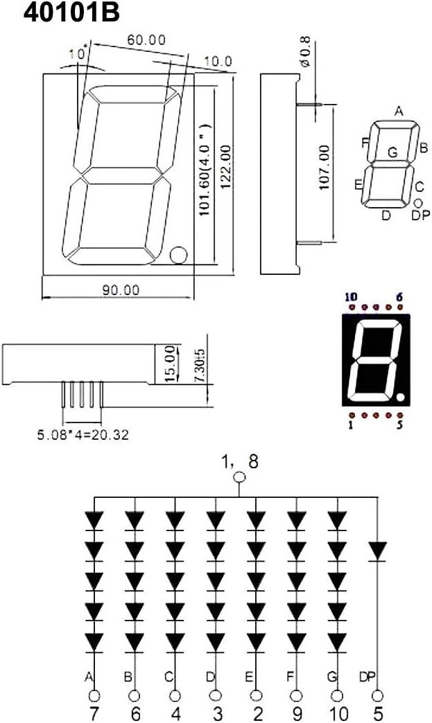 40101BS Common Anode 1 Bit 7 Seg DIP Digital Tube Red LED 10Pin 122 x 90 x 15mm