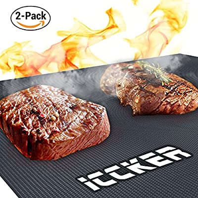 ICCKER BBQ Grill Mat - Non-stick Barbecue Mat Heavy Duty 600 Degree Grill and Baking Mats (Set of 2), Reusable and Easy to Clean, 40 x 13 inch