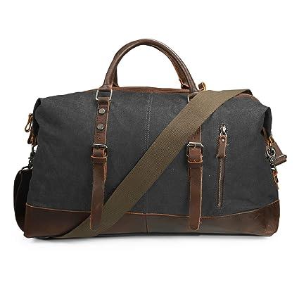 3910f5ee3e4902 ECOSUSI Vintage Canvas Sport Tote Gym Bag Overnight Shoulder Bag Weekend  Travel Duffel Bag Dark Grey