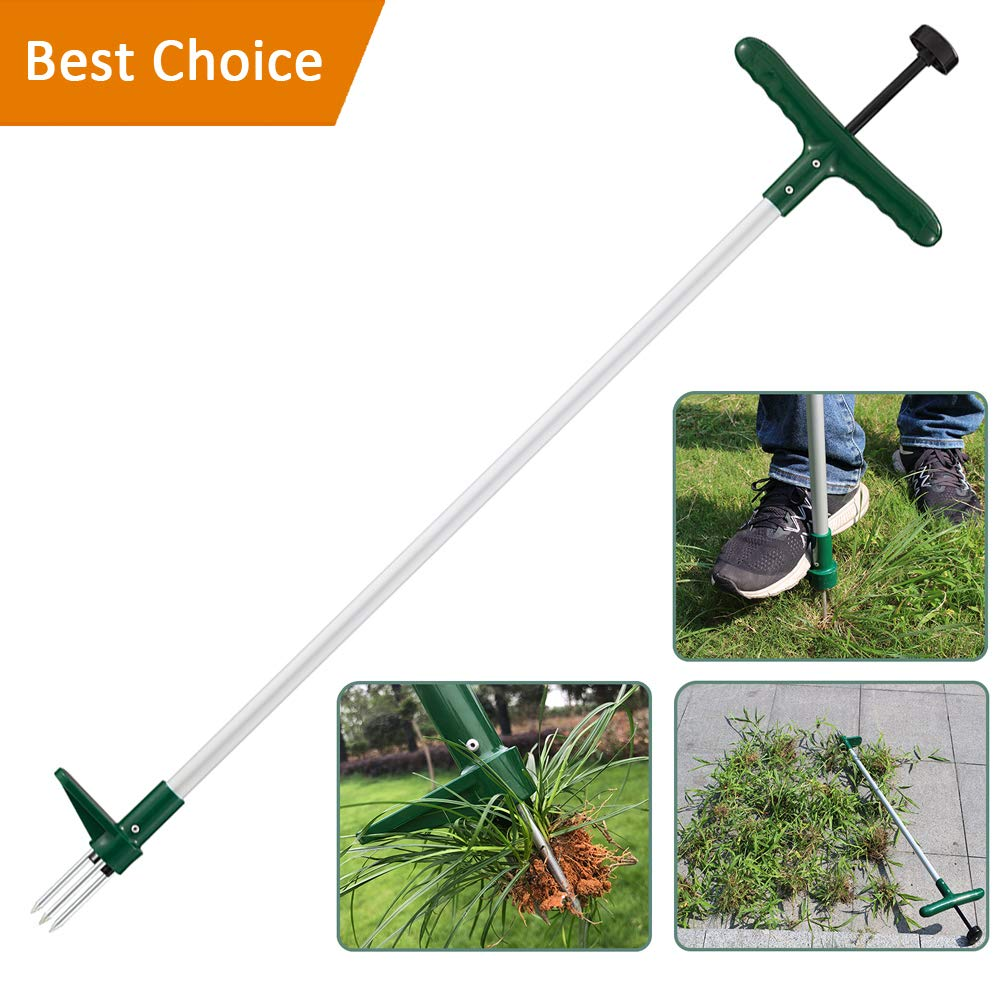 Walensee Stand Up Garden Weeder and Root Removal Tool, Stand up Manual Weeder Hand Tool with 3 Claws, Stainless Steel and High Strength Foot Pedal, Ideal for Permanently Removing Dandelion, 39-Inch