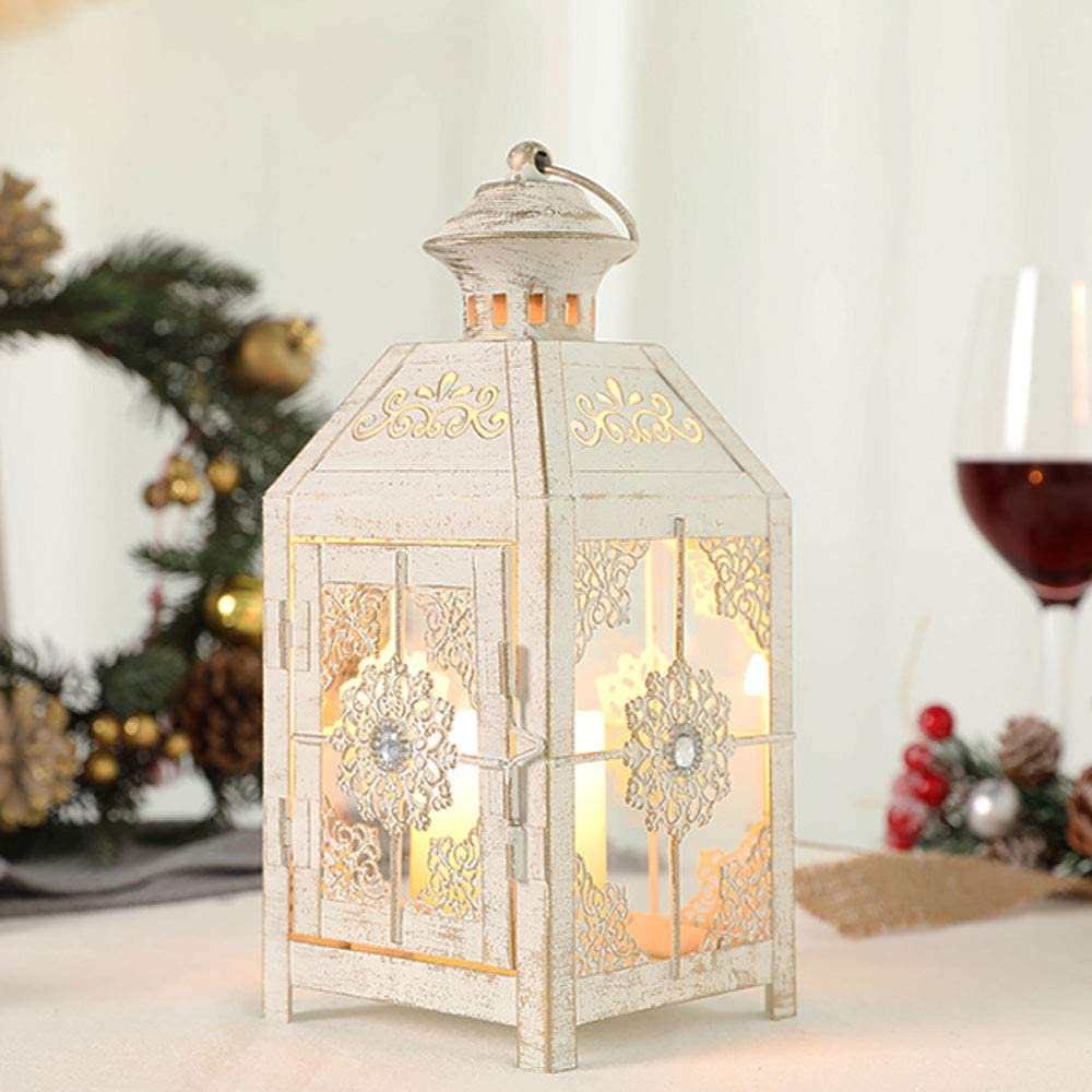 """JHY DESIGN Decorative Lantern 9.5"""" High Metal Candle Lantern Vintage Style Hanging Lantern for Wedding Parties Indoor Outdoor(White with Gold Brush)"""
