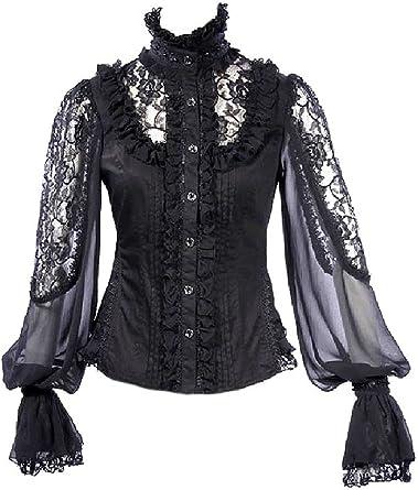 RQ-BL – Camisa negra elegante, encaje de flores y manga bouffantes transparente negro XL: Amazon.es: Ropa y accesorios