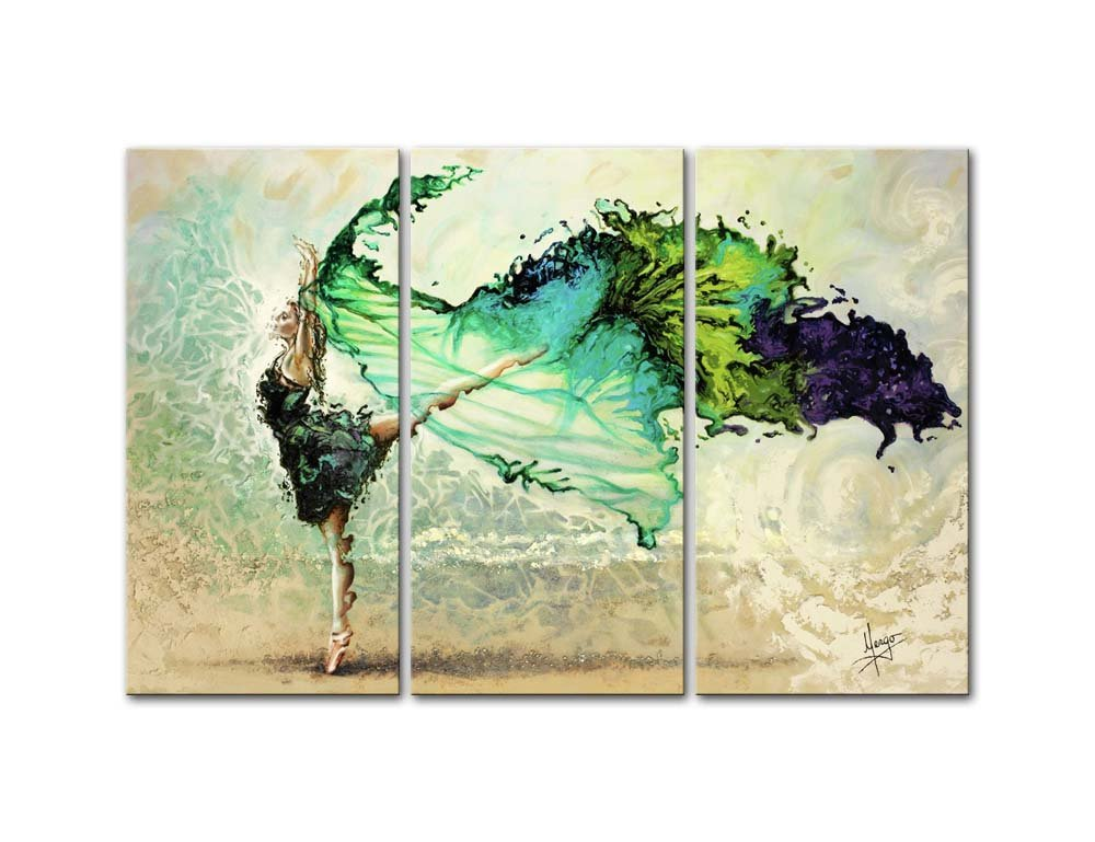 Canvas Print Wall Art Paintings Ballet Ballerina Like Butterfly In Color Hand Painted Style 3 Pieces Panel Modern Framed Artwork The Pictures For Living Room Home Decor Dance Photo Prints On Canvas